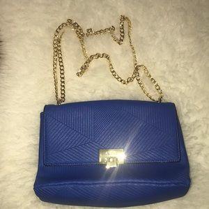 Aldo medium flap bag royal blue gold chain detail